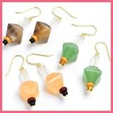 Marble Wood Beads Pierced Earring