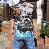 Japanese Pattern Embroidery Aloha Shirt Jacquard Fabric Fujin Raijin