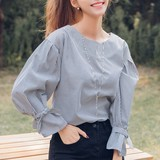 2017 S/S Round Neck Ribbon Blouse Shirt