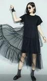 2017 S/S Ladies Mesh Layer Long Short Sleeve One-piece Dress