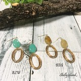Shelly island Colorful Stone Hook Pierced Earring