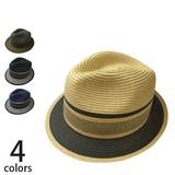 【春夏】【メンズ】【天然ハット】ペーパーブレードコンビ中折れ 帽子