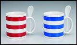 スプーンツ付ボーダーマグカップ/キッチン 新生活 ノベルティ ギフト 景品