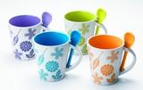 スプーンツ付フラワーマグカップ/キッチン 新生活 ノベルティ ギフト 景品
