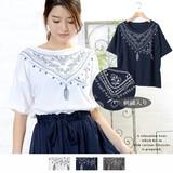 ◆2017春夏新作◆アフガンストール刺繍ターンバックTシャツ/ドルマン/myke/SS