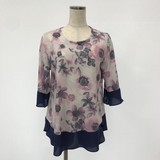 Spring Chiffon Switching Floral Pattern Tunic