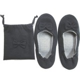 Portable Slipper Knitted Ribbon Black