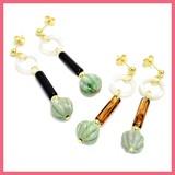 Marble Stick Beads Pierced Earring
