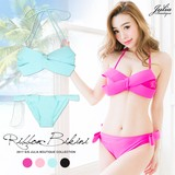 Big Ribbon Design Wire Bikini Set Swimwear