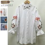 【WEB展】(4月中旬納品)大人可愛い♪プチプラ/バルーン袖・花柄刺繍チュニックシャツ/20017年 春