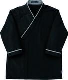 レストランユニフォーム七分袖和風シャツ-ブラック-