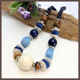 Natural Material Blue Brown Short Necklace