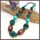 Natural Material Turquoise Blue Wood Necklace