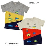 Car Pattern Applique Switching Short Sleeve T-shirt
