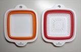 【特価】マリ・クレール 折り畳みボウル&ザルセット(角形) /キッチン ボウル ザル ギフト