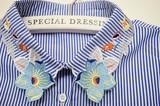 Stripe Fabric Floral Pattern Fashion Detachable Collar