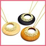 Watermark Parts Wood Circle Motif Necklace