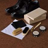 桐箱入りシューシャインセット/名入可 くつみがきセット 靴磨きセットブラシセット ギフト 記念品