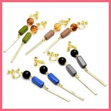 Round Square Beads Long Earring