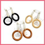 Wood Frame Circle Big Motif Pierced Earring