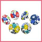 Retro Flower Pattern Walnut Button Pierced Earring