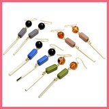 Round Square Beads Long Pierced Earring