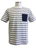 【メンズ】2017新作 スラブ裏使い綿100%ボーダーTシャツ<大きいサイズあり>