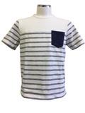 【メンズ】2017新作 スラブ綿100%裏使いパネルボーダーTシャツ<大きいサイズあり>