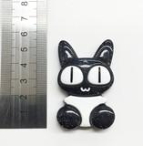 【加工パーツ】まんまるおめめ黒ネコ 樹脂パーツ デコ