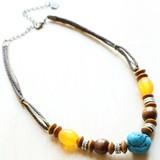 【Saori】お買い得◆天然素材ネックレス◆ウッド◆ターコイズカラー・ウッドチョーカー