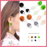Marble Circle Clear Mix Beads Earring
