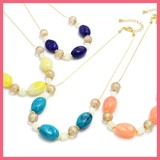 Wave Oval Beads Big Motif Necklace