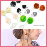 Marble Circle Clear Mix Beads Pierced Earring