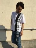 【2017年夏物新作】バーライン 切替  半袖Tシャツ(ワイドサイズ)