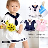 2017 Summer Jersey Stretch Marine Sailor Rompers Girl