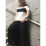 【オープニングSALE】ロゴ透かし編み14GG  コットン100% セーター ツートンカラー