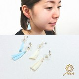 """【Notle】""""Moroccan""""シリーズピアス-クリアプレート×タッセル-"""