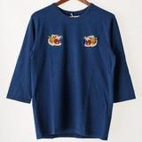 S/S 2017 S/S Indigo Jersey Stretch Embroidery Crew Neck Three-Quarter Length T-shirt