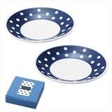 藍丸紋・小皿2P/日本製 キッチン 軽量 お洒落 ギフト ノベルティ