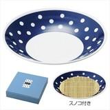 藍丸紋・麺皿(スノコ付き)/日本製 キッチン 軽量 お洒落 ギフト ノベルティ