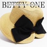帽子 夏 美後姿 ママ つば広UVハット 約58cm バックスリット ペーパーハット リボン ブレード