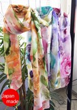 Yokohama Silk Long Stole Watercolor Flower Jacquard