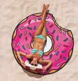 【注目】 ファンシースカーフ ドーナツ・ピザ・ハンバーガー柄 /ビーチ おもしろ サークルスカーフ