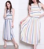 Quality Colorful Stripe Print One-piece Dress