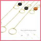 Frame Circle Wood Beads Lariette Necklace