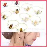 Pearl Marble Flower Hoop Pierced Earring