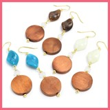 Wood Beads Rhombus Wave Beads Pierced Earring
