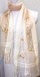 ビーズ刺繍ストール 802-1花サラサシルクレーヨンオンブレー