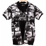 裏毛総柄半袖MA-1ジャケット&クルーネック半袖Tシャツ アンサンブル