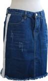 サイドライン 裾カットダメージデニムミニスカート